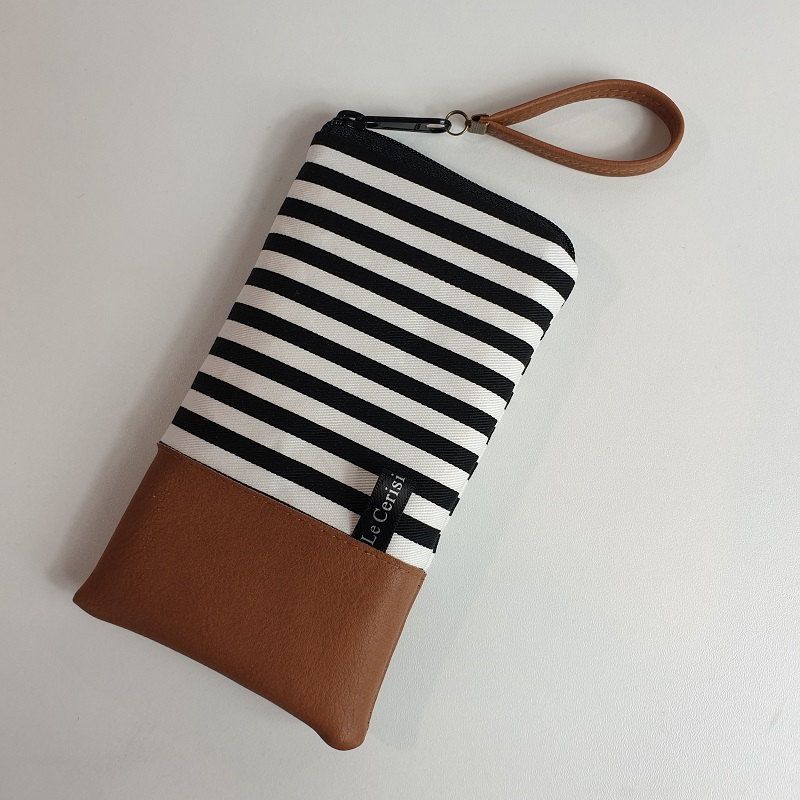 Smartphone sleeve - zipper closure - Rayures