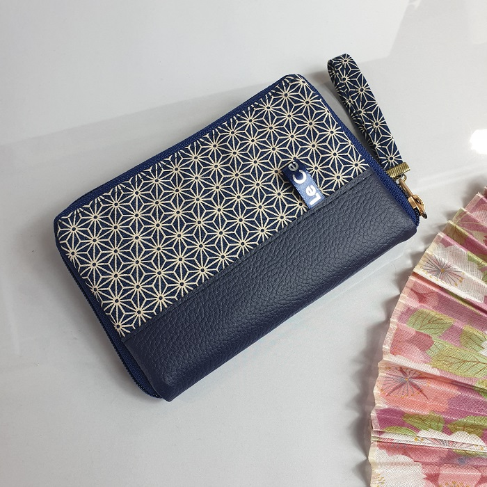 "5.5"" zippered Cards and coins wallet - Asanoha 2"