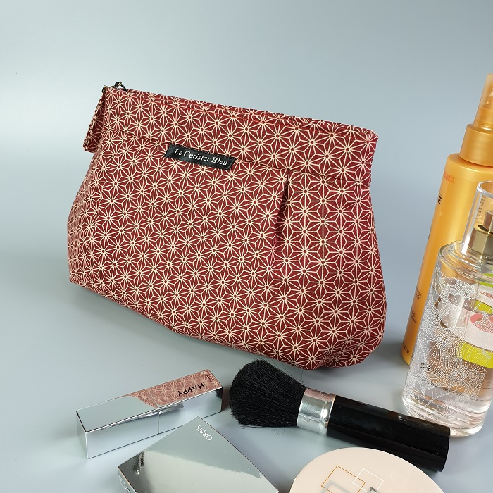 Makeup pouch - Asanoha red