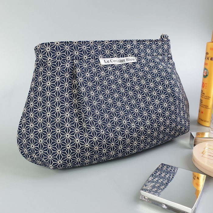 Makeup pouch - Asanoha navy blue
