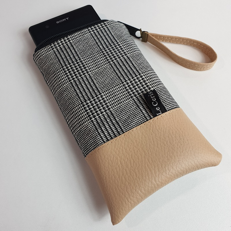 Smartphone sleeve - zipper closure - Carreaux