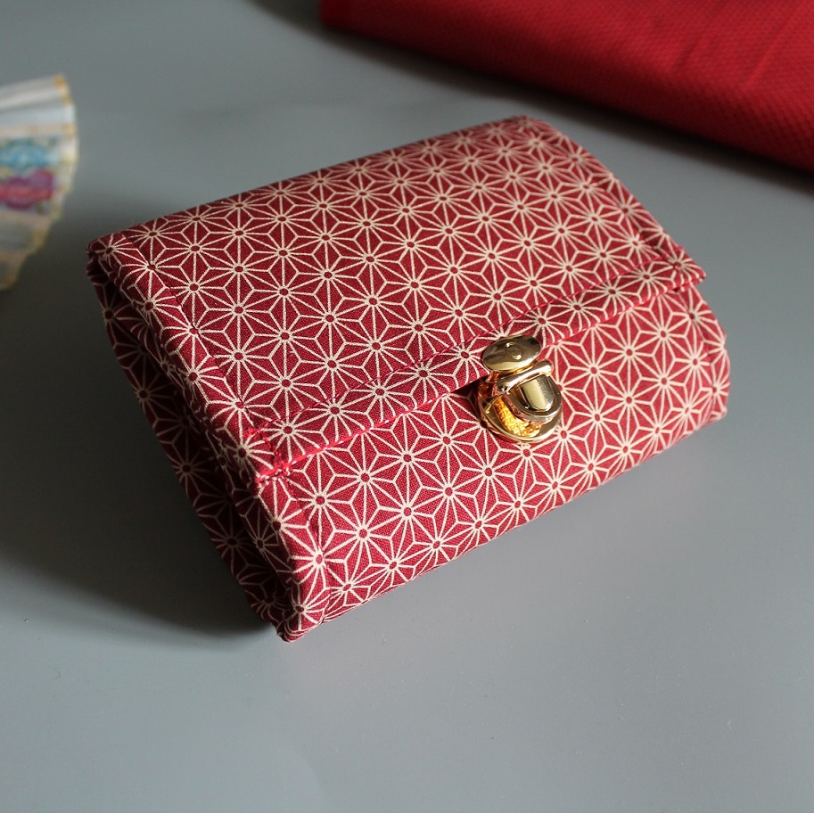 Coin Purse Card wallet  -  Asanoha red