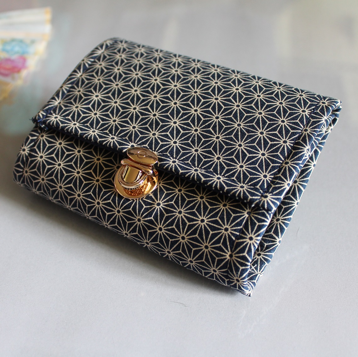 Coin Purse Card wallet  -  Asanoha blue