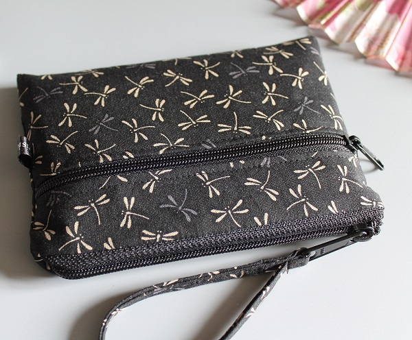 Coin purse 2 zippered pockets - Tombo  Black beige