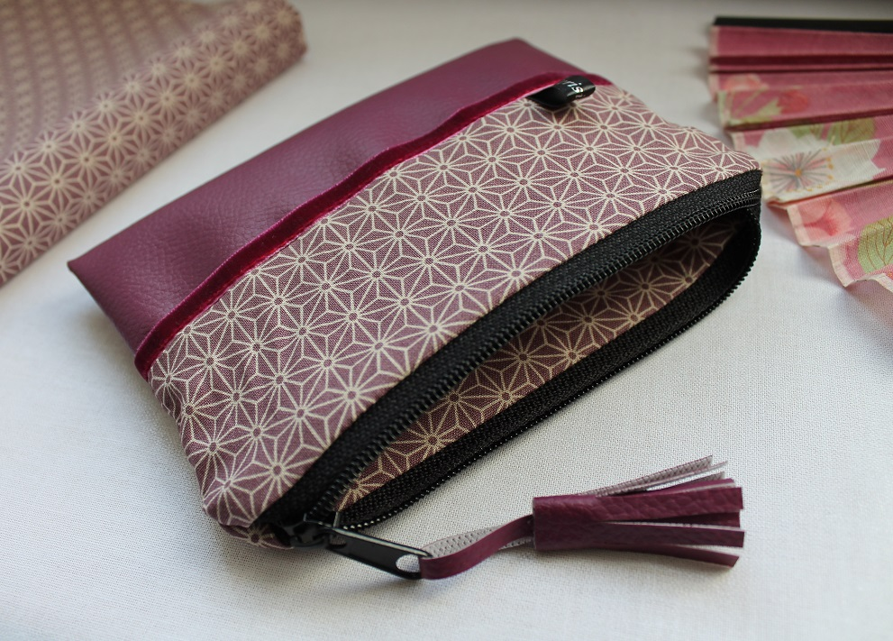 Zippered Coin purse - Asanoha purple