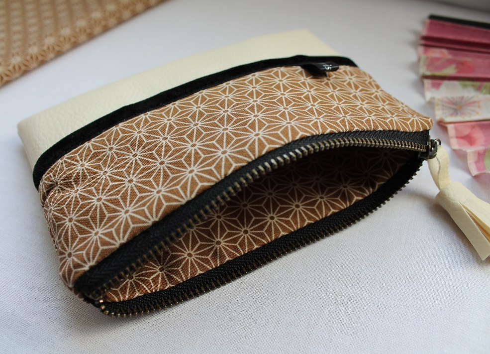 Zippered Coin purse - Asanoha brown