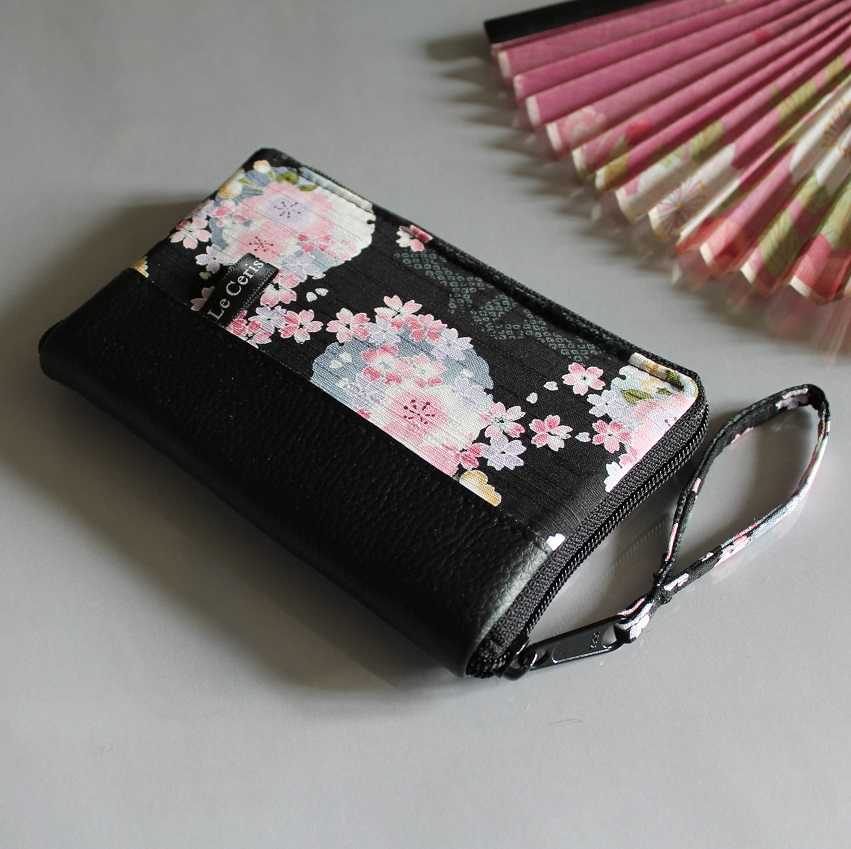 "5.5"" zippered Cards and coins wallet - Mina black pink"