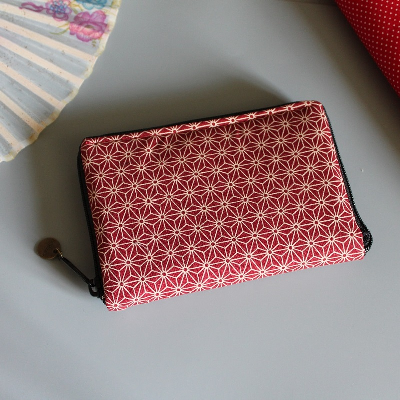"5.5"" zippered Cards and coins wallet - Asanoha red"