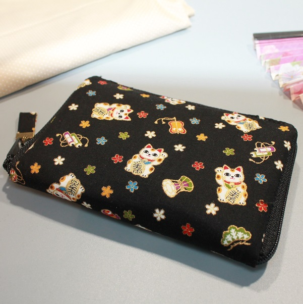 "5.5"" zippered Cards and coins wallet - Maneki gold"