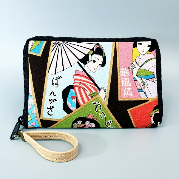 "5.5"" zippered Cards and coins wallet - Geisha"