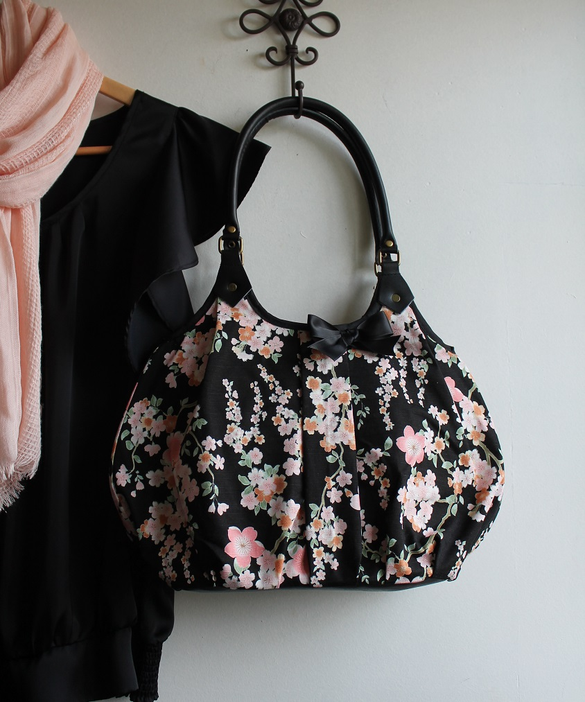 Shoulder bag tote bag - zipper closure - Ayami black pink