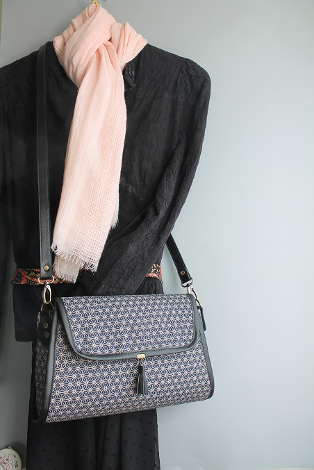 satchel - zipper closure - Asanoha bleu