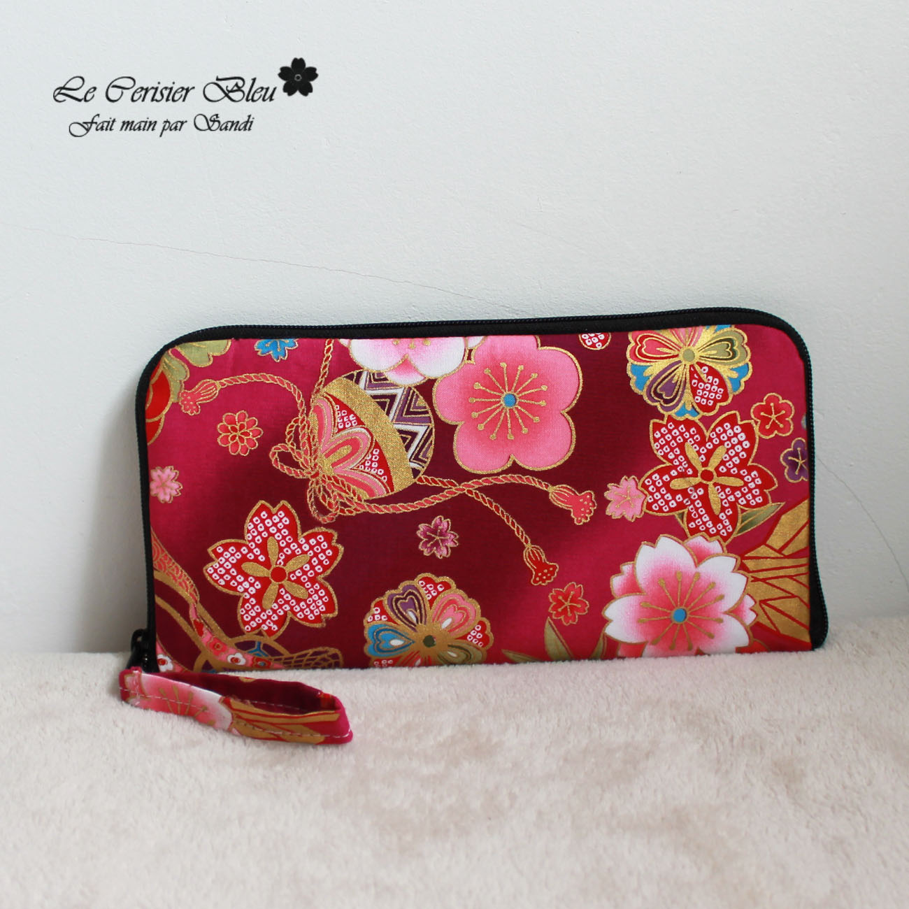 "8.3"" long zippered wallet - Akane fucsia"