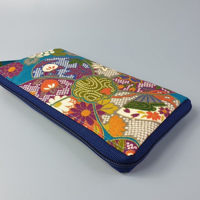 "8.3"" long zippered wallet - Yuka blue green"