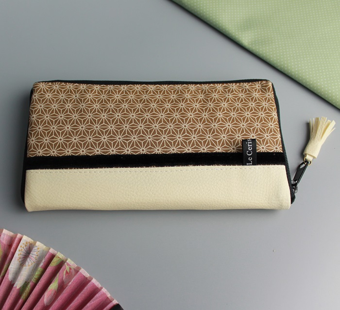 "8.3"" long zippered wallet - Asanoha beige"